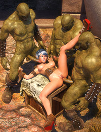 Outdoor group action featuring the nasty 3D evil monsters and a hot beauty