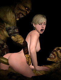 Sherry Birkin is engaged to rough gangbang by horrible creatures
