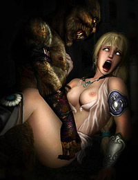 Game heroines moans deeply when gets anal penetration by awful monsters