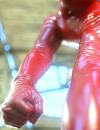 Busty flapper in latex suite and very strong 3D monsters in the barn