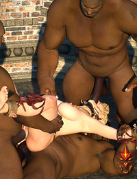 Awesome elven bitch with cute teats tied up and used in all her elven holes by black guards