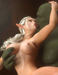 Dark Elf showing a white human slut how to do a decent blowjob to a man