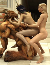 Hung creature and his queen double-team a cute tgirl