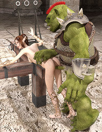 Slutty elf girl caught in stocks pleasing a monstrous creature