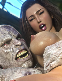 Busty pervert enjoys brutal penetration with the nasty 3D monsters