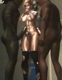 Busty whore pleasing bronze, silver and golden cocks with her mouth