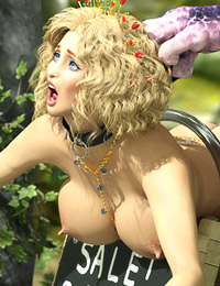 Awesome cutie with great breasts is tied up for some rough deepthroat blowjobs, her elven face covered with hot creamy jizz from two ugly mutants