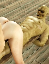Adorable domina bitch treats hot monster with her pussy on its ugly face and cums in its mouth