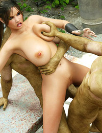Crazy satanic action with green demons and brunette at the factory