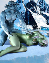 The horrifying ice monster hammers the hungry hooker really good.