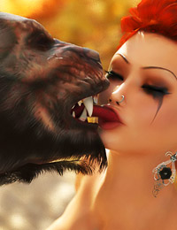 Busty Red ignored the warning signs and now her fuck holes are getting ripped by big werewolf's cock