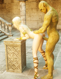 Wonderful animated pussy gets penetrated by an orc
